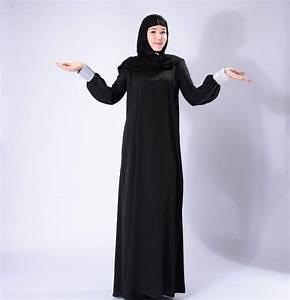 Kleidung Hochzeitsgast Frau : muslimische frauen schwarz bescheiden langarm patchwork abaya kleid damen ~ Frokenaadalensverden.com Haus und Dekorationen
