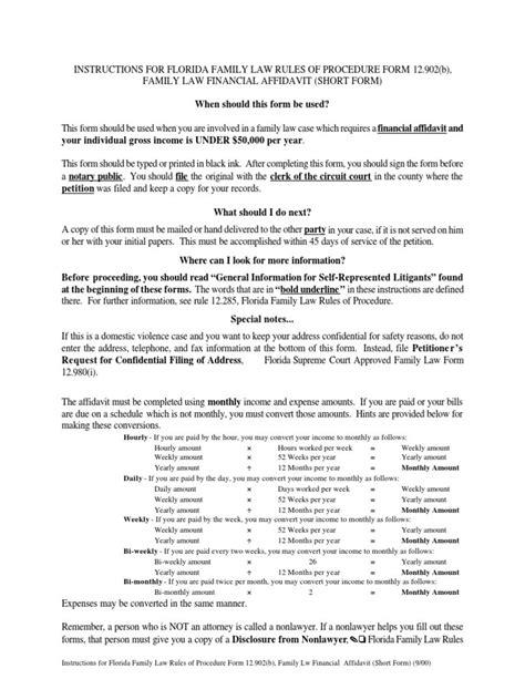 family law financial affidavit short form docsharetips