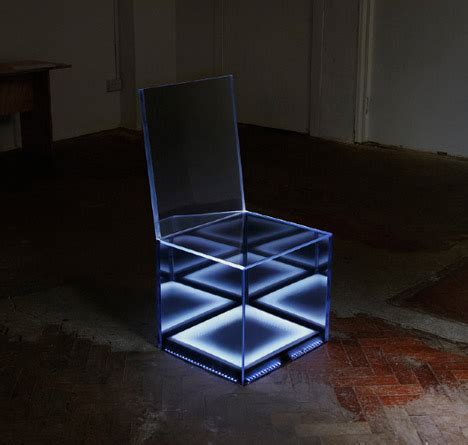 cloaking chair led lights hide  mirrored camouflage