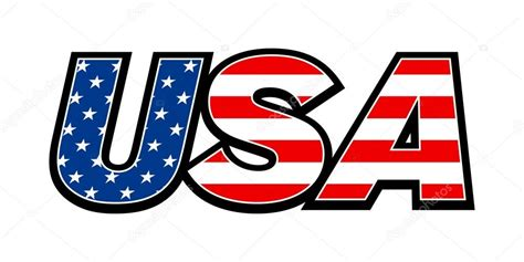 Letter Usa by United States Of America Usa Text And Stripes Flag
