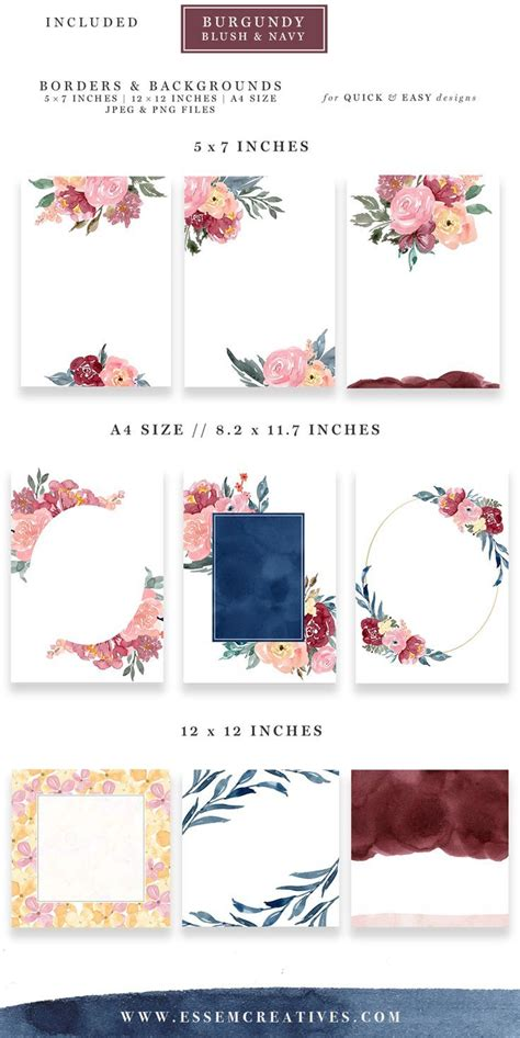 burgundy blush navy watercolor backgrounds  floral