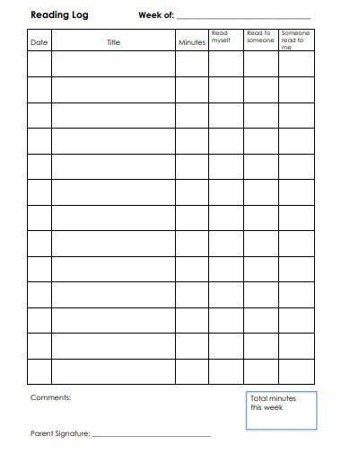 reading log sheet templates    premium templates