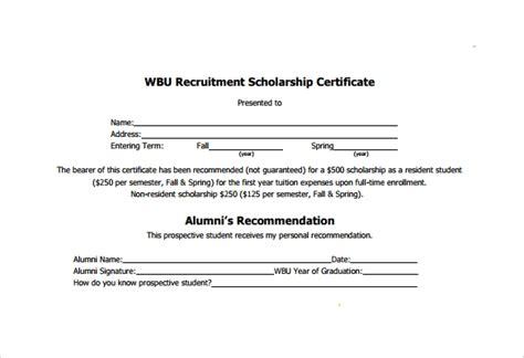 scholarship certificate templates  samples