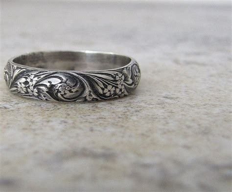 engraved wedding band floral pattern ring silver
