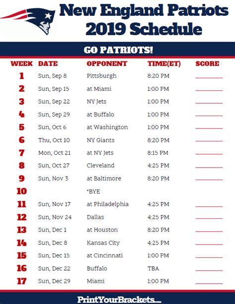 printable  england patriots schedule  season