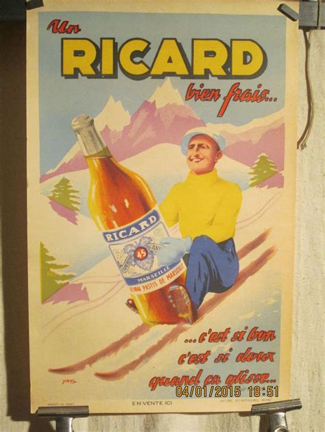 poster mural pour cuisine affiche ancienne ricard paul ricard sur skis in collections calendriers tickets affiches