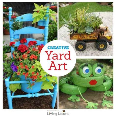diy yard art  garden ideas homemade outdoor crafts