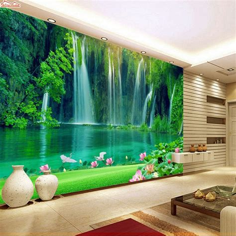 shinehome nowoczesne wodospad naturalne rolki tapety
