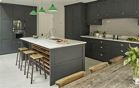 Oak Kitchen Island - dark grey kitchen design battersea brayer design kitchens