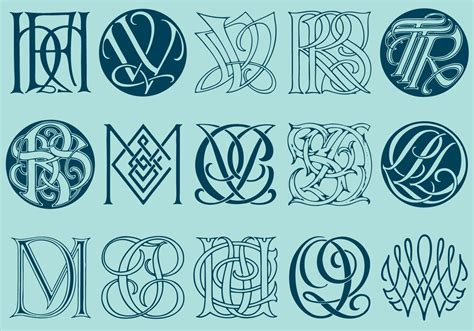 complex monograms   vector art stock graphics images