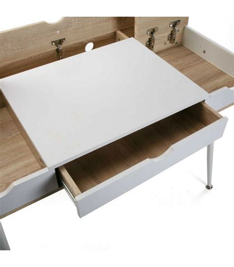 Bureau Bois Et Metal Blanc by Bureau Design Bois Et M 233 Tal Blanc Avec Multiples Rangements