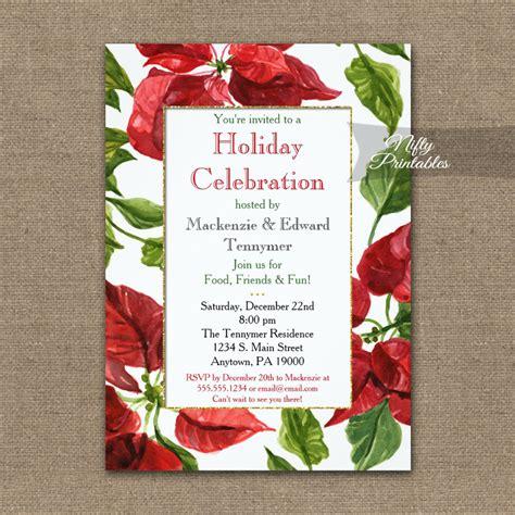 Holiday Christmas Party Invitation Poinsettia PRINTED
