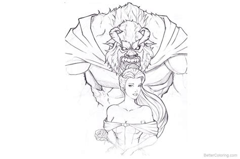 Beauty And The Beast Coloring Pages Hand Drawing