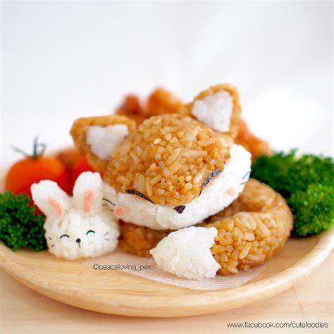 cuisine kawaii kawaii fox rabbit rice balls food