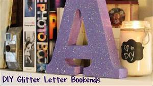 diy glitter letter bookends super easy youtube With diy large letter blocks