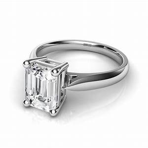 Tapered cathedral emerald cut solitaire diamond engagement for Wedding bands for solitaire engagement rings