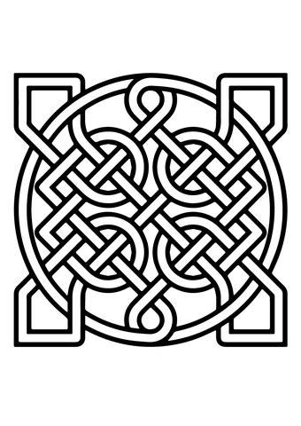 coloriage noeud celtique carre ornemental coloriages