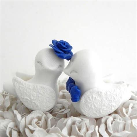 love birds wedding cake topper white  royal blue