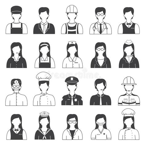 13180 career clipart black and white career and occupation icons set stock vector