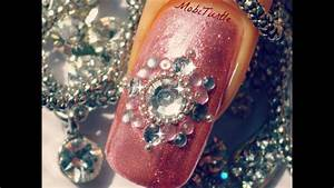 Easy Nail Art Designs At Home For Beginners 3d Pink Glitter Rhinestones Beads Easy Nail Art For