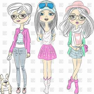 Cartoon beautiful hipster girls with dog, Beauty, Fashion ...