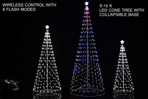 led lights christmas tree 192 16 ft outdoor multi color led cone tree w collapsible base with wireless remote 61503