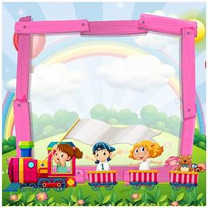 Cartoon frame with a train Vector | Premium Download