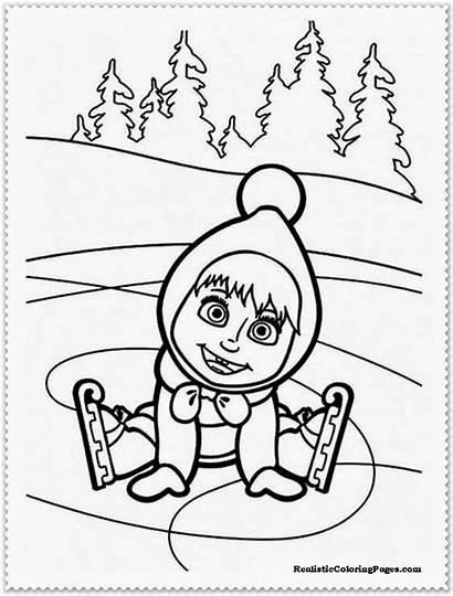 Masha Bear Coloring Pages Sheets Drawing Printable