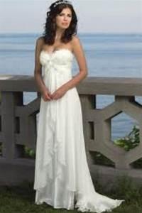 Beautiful white flowy wedding dress with design on the for White flowy wedding dress