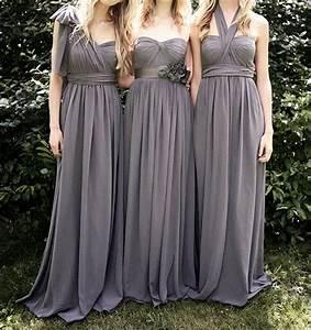 Convertible Dark Grey Chiffon Floor-length Bridesmaid ...