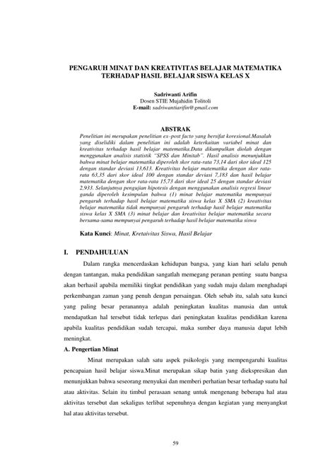 (PDF) PENGARUH MINAT DAN KREATIVITAS BELAJAR MATEMATIKA