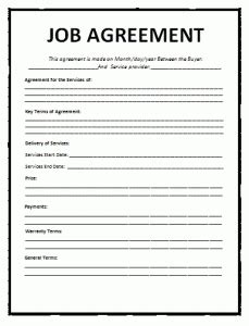 job agreement template word excel  templates