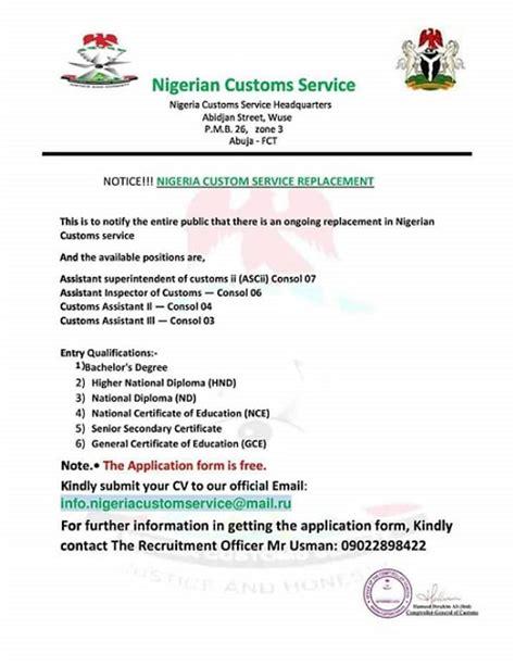 avoid  fake nigeria customs job recruitment