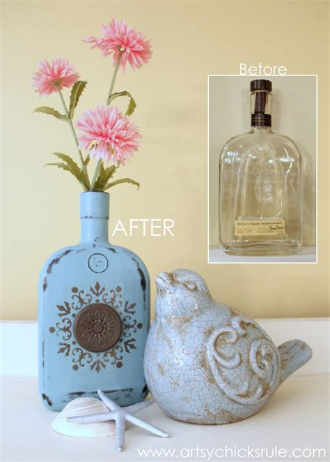 easy diy chalk painted bottles woil rubbed bronze