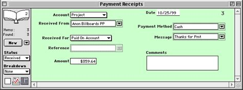 payment receipts