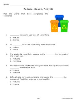 reduce reuse recycle grade 3 free printable tests and worksheets helpteaching
