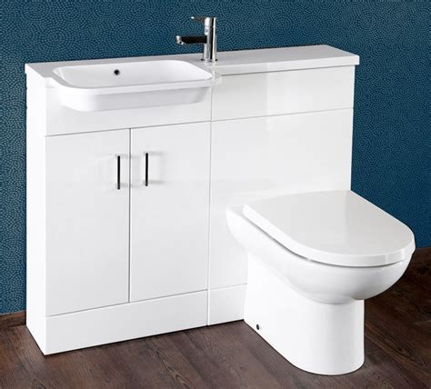 gloss white 1000mm vanity unit and wc combination lh