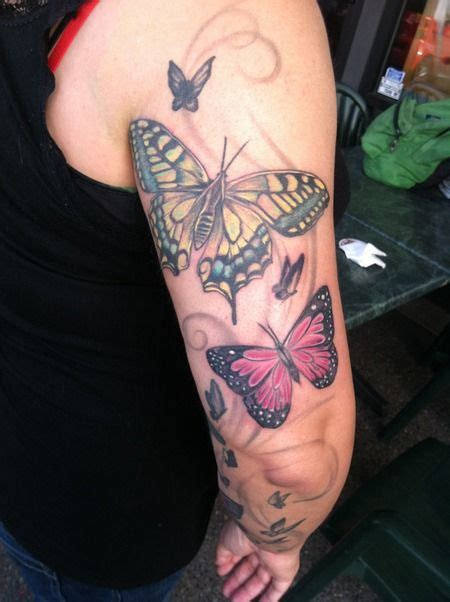 butterfly sleeve tattoos images  pinterest arm