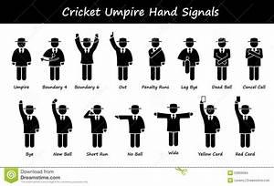 Cricket Umpire Referee Hand Signals Cliparts Stock Vector