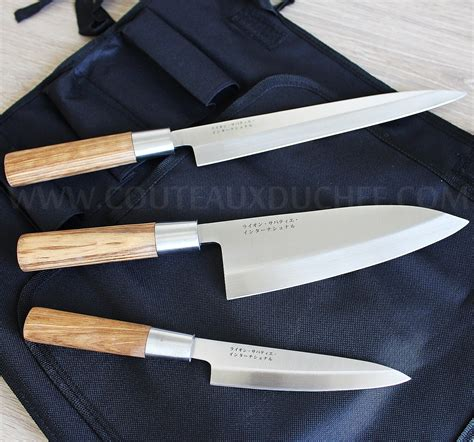 bloc de couteau de cuisine trousse style japonais 3 couteaux avec protection