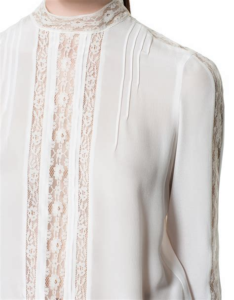 zara blouse zara silk lace blouse in white lyst