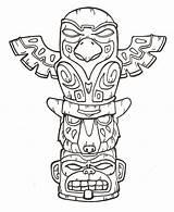 Totem Pole Native Tiki Tattoo Printable Coloring Drawing Poles Eagle Craft Symbols Bestofcoloring sketch template