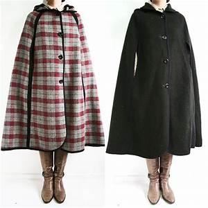 Vintage 70s Stunning Check Pattern  U0026 Black Reversible Wool Cloak Cape Coat Hood
