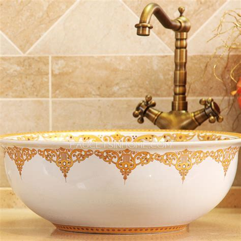 Golden And White Ceramic Round Bath Sinks Single Bowl Antique