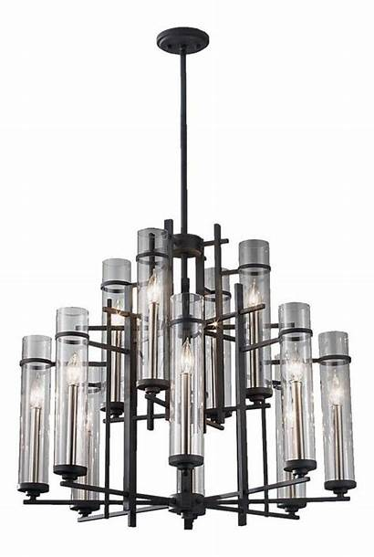 Feiss Chandelier Forged Antique Glass Iron Walnut