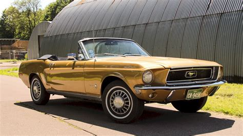 sunlit gold  ford mustang   convertible