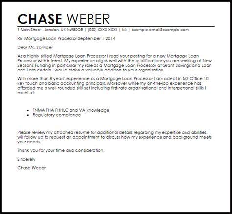 mortgage loan processor cover letter sle livecareer