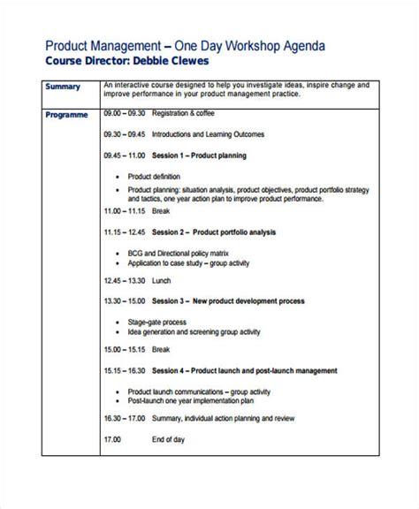 workshop agenda samples   sample  format