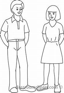 standing woman black and white clipart - Clipground