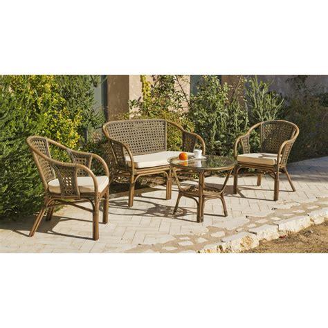 salon de jardin en rotin naturel sofa 2 fauteuils et